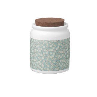 Modelo de flores de marfil del vintage jarras para caramelos
