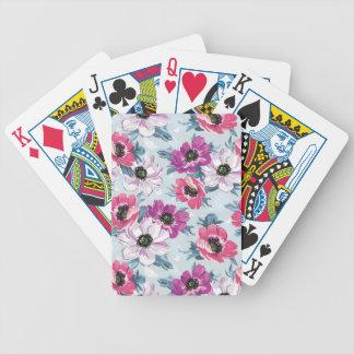 Modelo de flores del color de la elegancia en azul baraja cartas de poker
