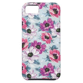 Modelo de flores del color de la elegancia en azul iPhone 5 Case-Mate cobertura