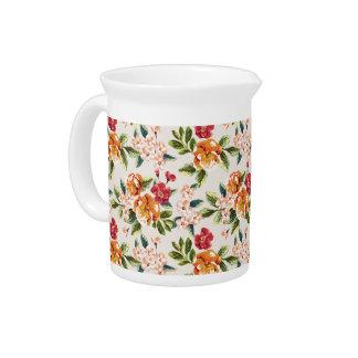 Modelo de flores elegante de la acuarela del jarras de beber