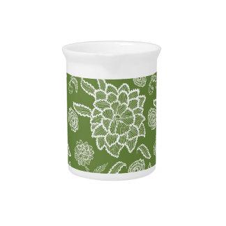 Modelo de flores floral de la flor blanca del jarrón