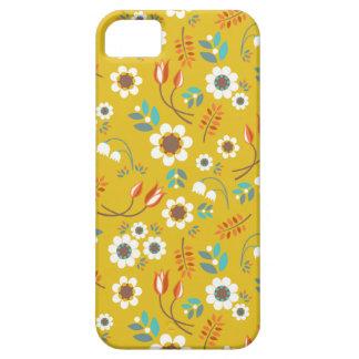Modelo de flores floral del amarillo de la mostaza iPhone 5 carcasa