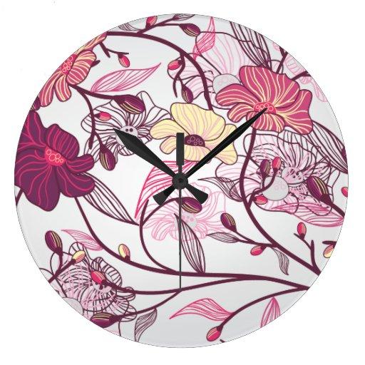 Modelo de flores japonés elegante reloj de pared