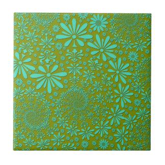 Modelo de flores lindo de la cadera en verde tejas  ceramicas