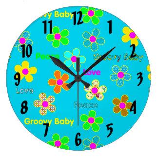 Modelo de flores maravilloso psicodélico 60s de la reloj redondo grande