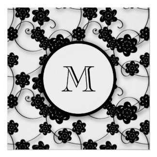 Modelo de flores negro lindo de la MOD, su inicial Perfect Poster