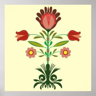 Modelo de flores polaco del bordado, poster póster