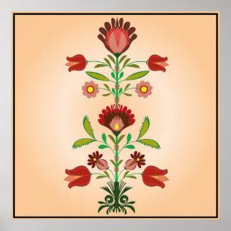 Modelo de flores popular polaco del bordado, póster