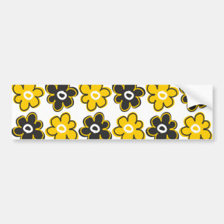 Modelo de flores retro amarillo y negro pegatina para auto