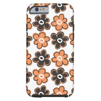 Modelo de flores retro anaranjado y negro funda de iPhone 6 tough