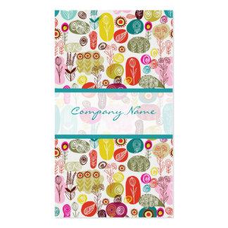 Modelo de flores retro dibujado mano simple colori tarjetas de visita