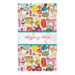 Modelo de flores retro dibujado mano simple colori plantillas de tarjetas de visita