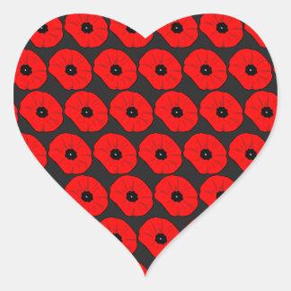 Modelo de flores rojo grande de la amapola pegatina en forma de corazón