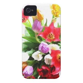 Modelo de flores romántico del tulipán de la prima iPhone 4 Case-Mate protectores