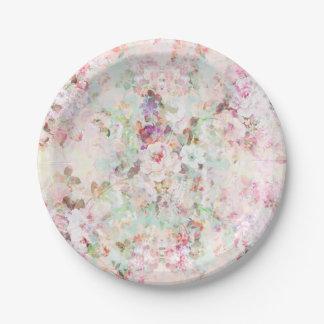 Modelo de flores rosado del vintage de la acuarela platos de papel
