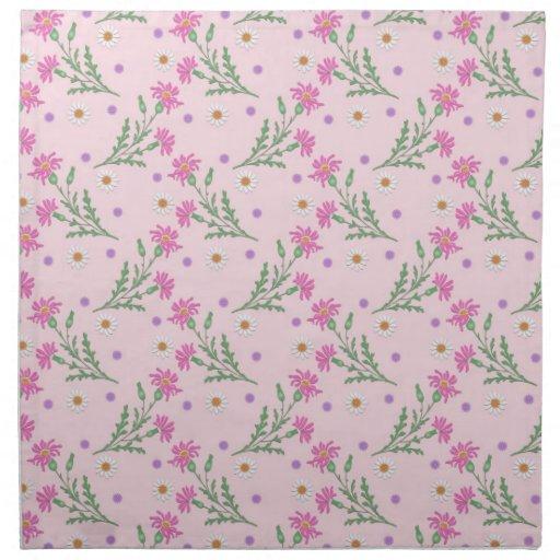 Modelo de flores rosado dulce servilleta imprimida