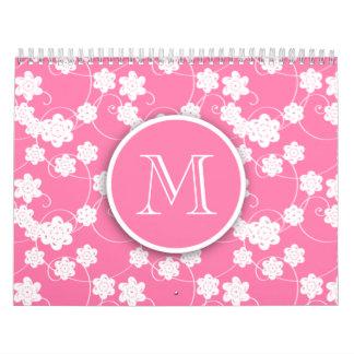 Modelo de flores rosado lindo de la MOD, su inicia Calendario De Pared