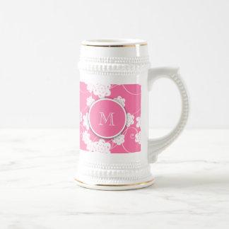 Modelo de flores rosado lindo de la MOD, su Jarra De Cerveza
