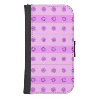 Modelo de flores rosado y púrpura funda billetera para teléfono