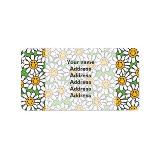 Modelo de flores sonriente de la margarita etiquetas de dirección