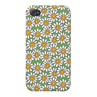 Modelo de flores sonriente de la margarita iPhone 4/4S fundas