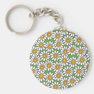Modelo de flores sonriente de la margarita llavero redondo tipo pin