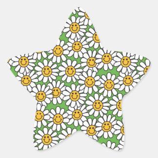 Modelo de flores sonriente de la margarita pegatina en forma de estrella
