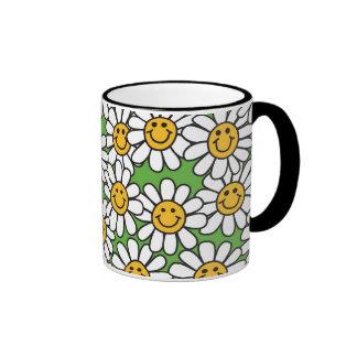 Modelo de flores sonriente de la margarita tazas