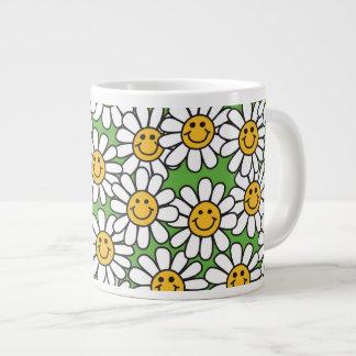 Modelo de flores sonriente de la margarita tazas extra grande