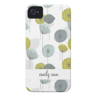 Modelo de flores verde retro de las amapolas Case-Mate iPhone 4 carcasa