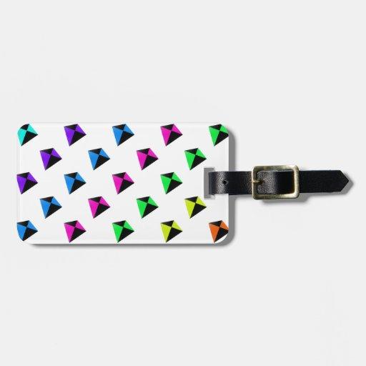 Modelo de forma diamantada multicolor de las comet etiqueta para maleta