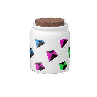 Modelo de forma diamantada multicolor de las comet jarras para caramelos