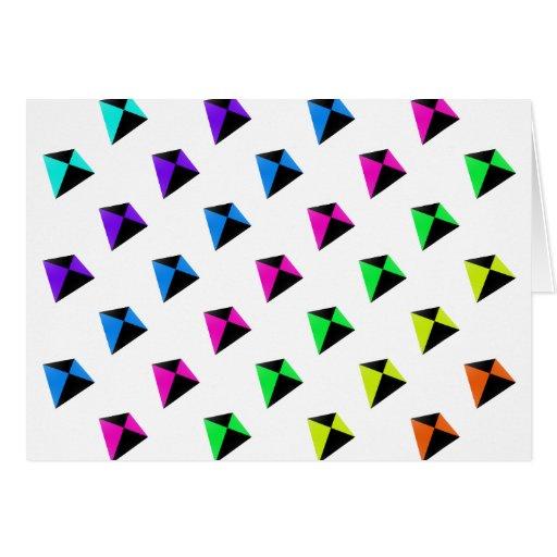 Modelo de forma diamantada multicolor de las comet tarjeta de felicitación