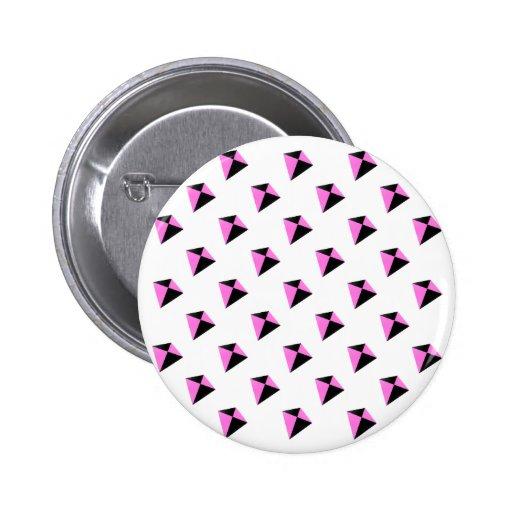 Modelo de forma diamantada rosa claro y negro de l pin redondo 5 cm