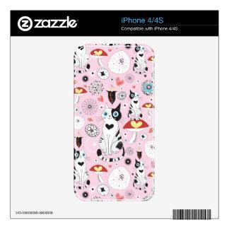 modelo de gatos y de flores iPhone 4 calcomanías
