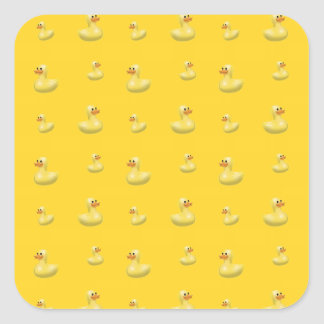Modelo de goma amarillo del pato pegatina cuadradas
