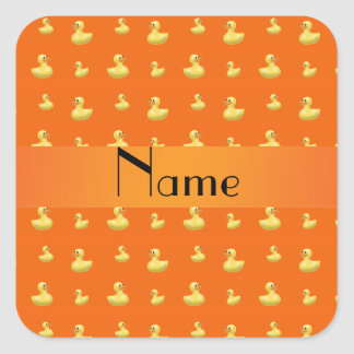 Modelo de goma anaranjado conocido personalizado pegatina cuadrada