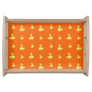 Modelo de goma anaranjado del pato bandeja