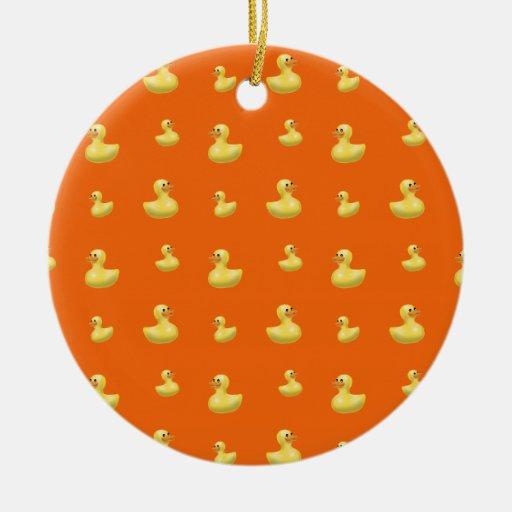 Modelo de goma anaranjado del pato adorno redondo de cerámica