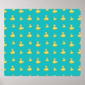 Modelo de goma del pato de la turquesa póster