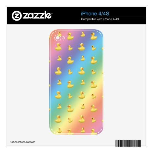 Modelo de goma del pato del arco iris skins para eliPhone 4S