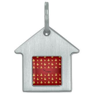 Modelo de goma rojo conocido personalizado del pat placa de mascota
