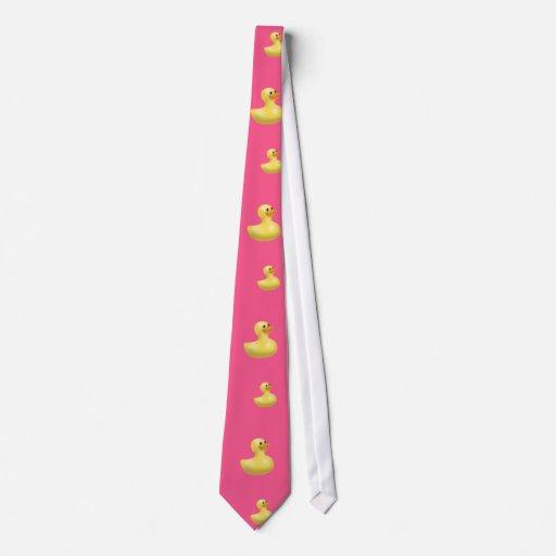 Modelo de goma rosado del pato corbatas personalizadas