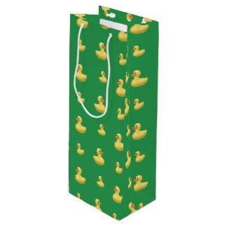 Modelo de goma verde del pato bolsa de regalo para vino