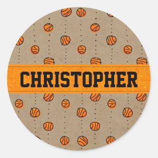 Modelo de goteo adaptable del baloncesto pegatina redonda