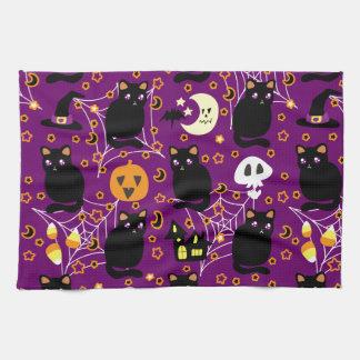 Modelo de Halloween del gato negro Toallas
