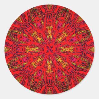 Modelo de Kaleido del elemento del FUEGO Pegatina Redonda