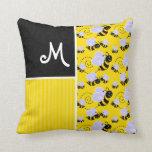 Modelo de la abeja amarilla y negra almohada