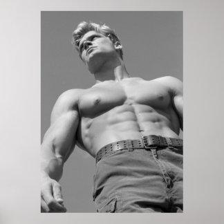 Modelo de la aptitud del trozo y poster del Bodybu