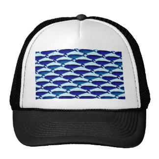 Modelo de la ballena de Bowhead en azul Gorras